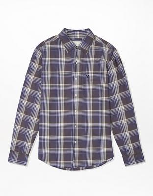 AE Slim Fit Plaid Button-Up Shirt