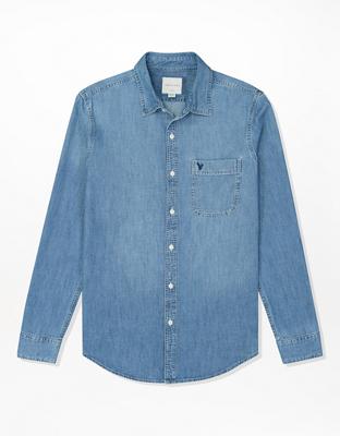 AE Plaid Poplin Button-Up Shirt