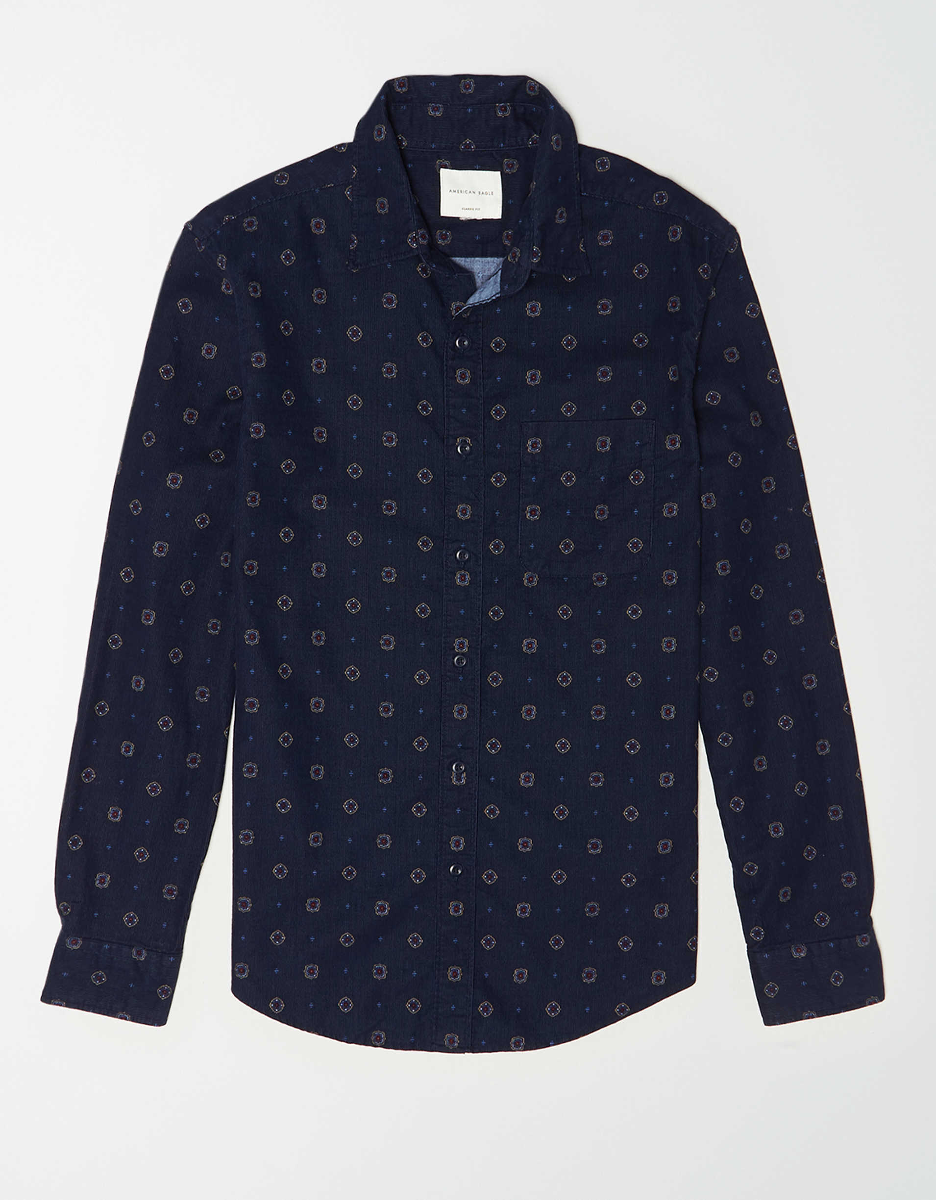 AE Printed Corduroy Button Up Shirt