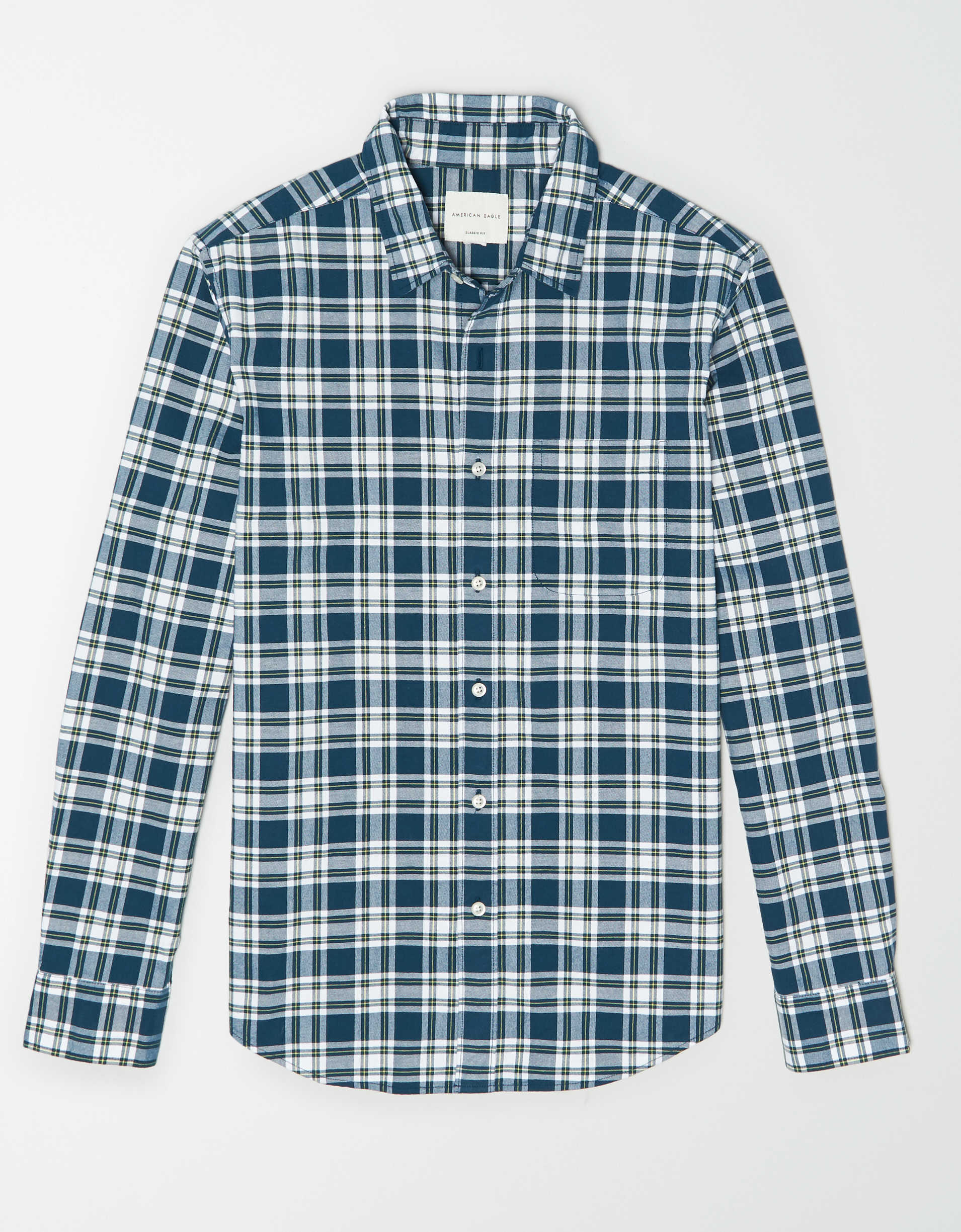AE Plaid Oxford Button Up Shirt