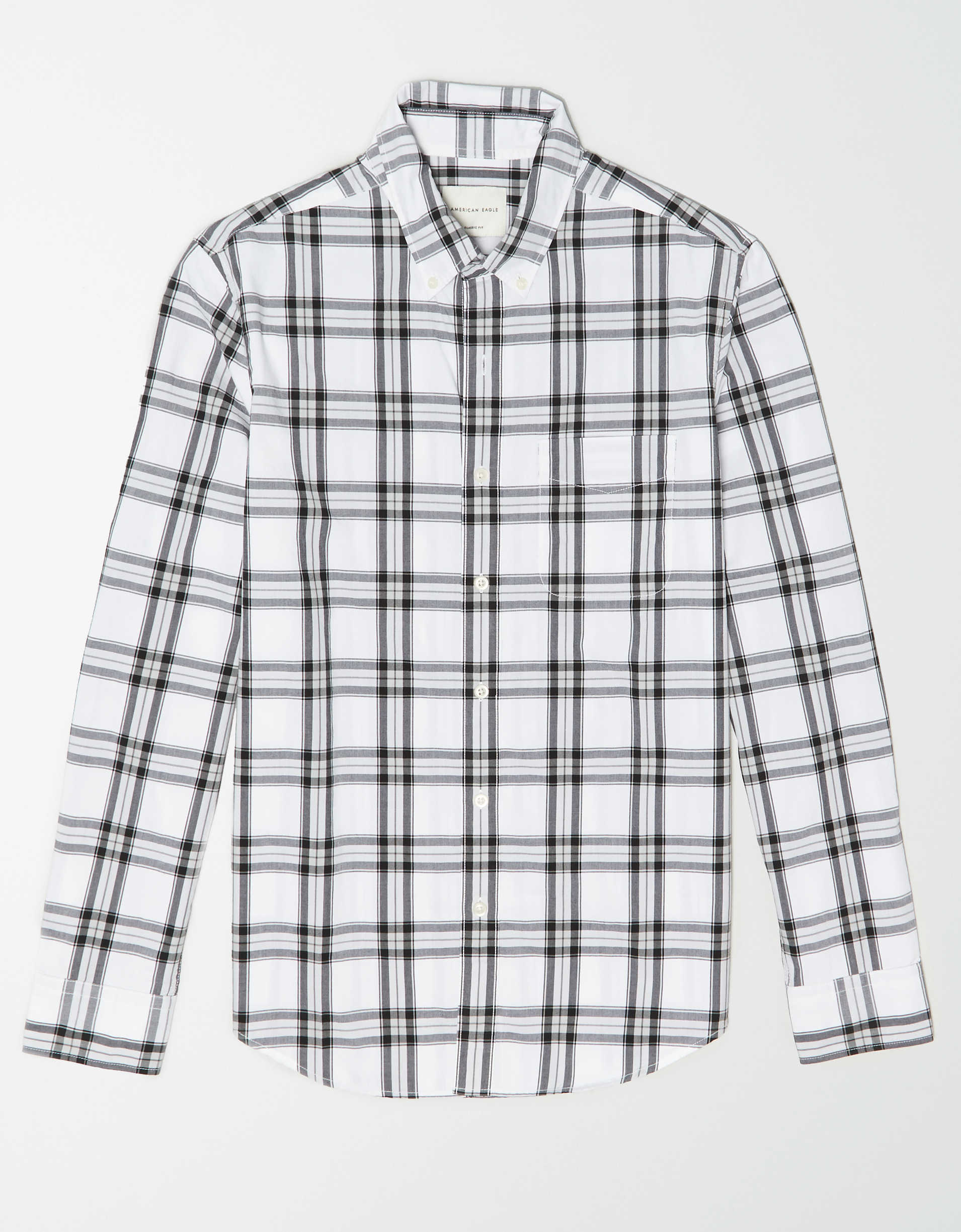 AE Plaid Poplin Button Up Shirt