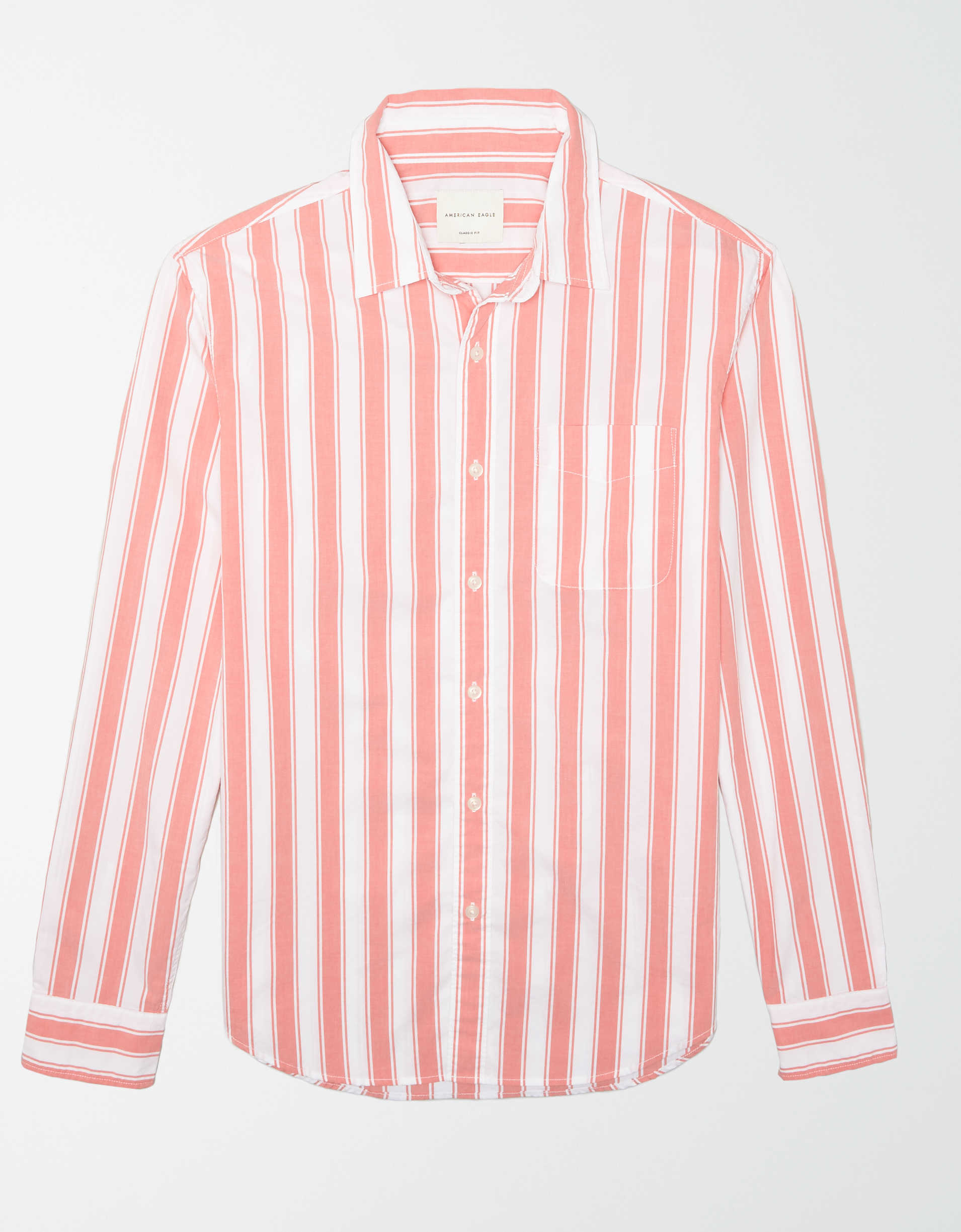 AE Striped Poplin Button-Up Shirt