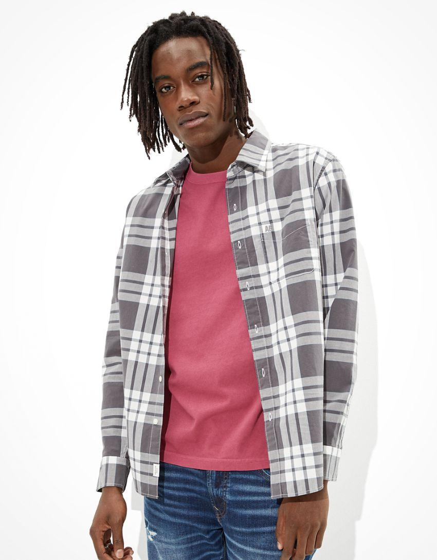 AE Plaid Button-Up Shirt