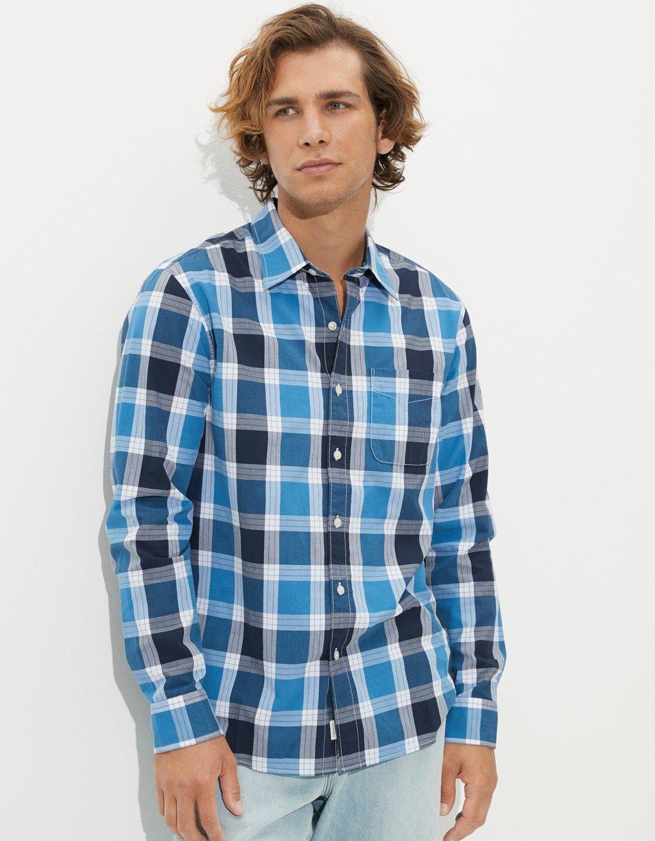 AE Plaid Poplin Button-Up Shirt | American Eagle