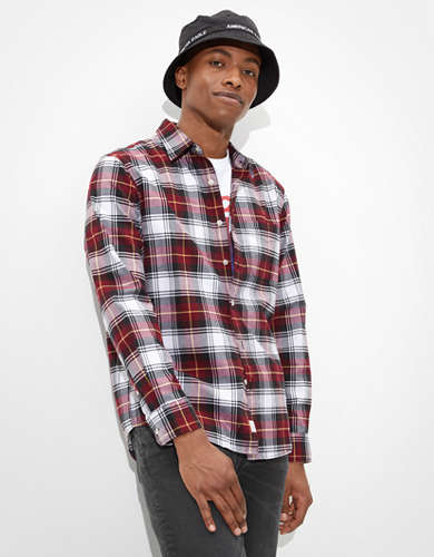 AE Plaid Oxford Button-Up Shirt