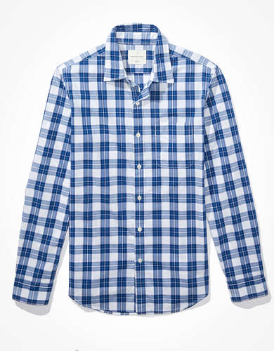AE Slim Fit Plaid Poplin Button-Up Shirt