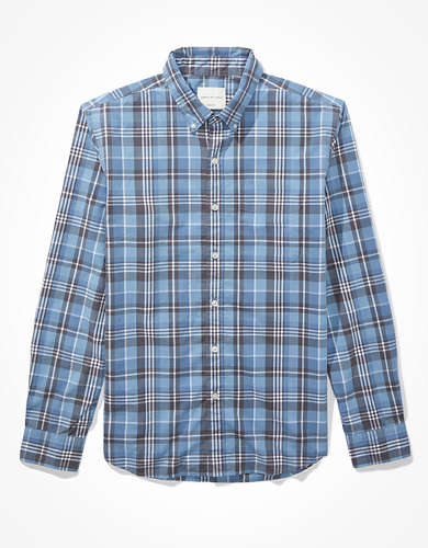 AE Plaid  Poplin Button-Up Shirt