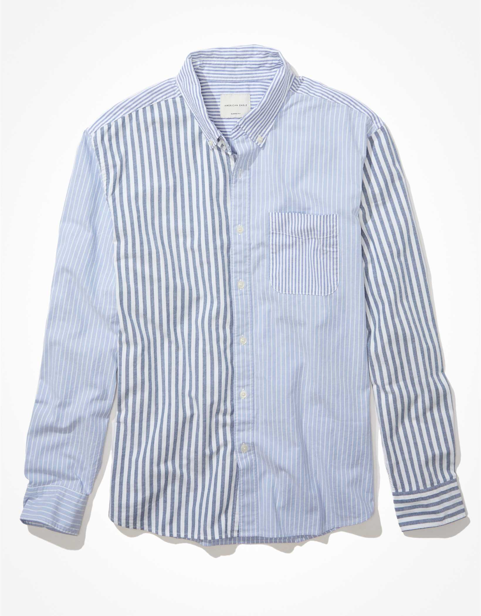 AE Color-Block Oxford Button-Up Shirt