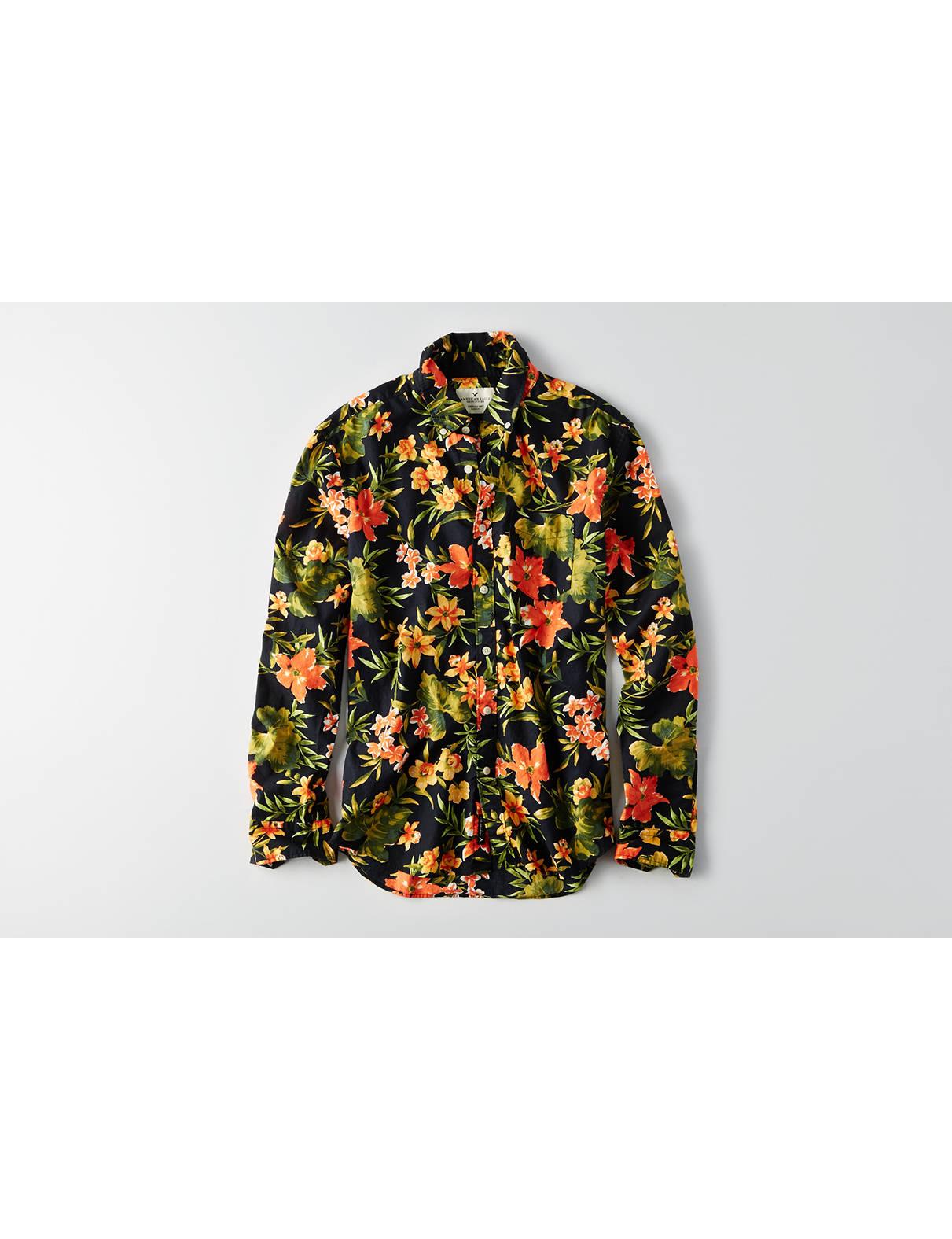 Display product reviews for AEO Print Poplin Shirt