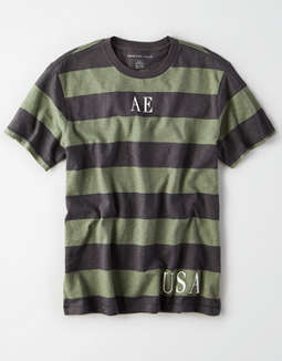 AE Short Sleeve Striped Graphic T-Shirt