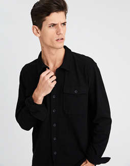 Camisa Estilo Chamarra Con Hilado Irregular Ae by American Eagle Outfitters