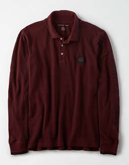 AE Long Sleeve Graphic Polo Shirt