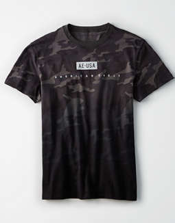 AE Short Sleeve Camo Reflective Graphic T-Shirt