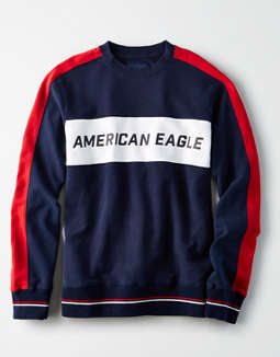 AE Color Block Fleece Crew Neck Sweatshirt