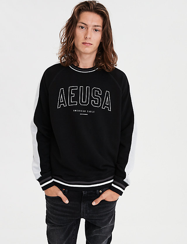 AE Reflective Graphic Crew Neck Sweatshirt