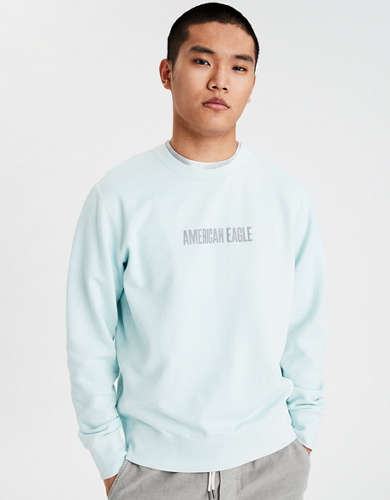 AE Garment-Dyed Graphic Crew Neck Sweatshirt