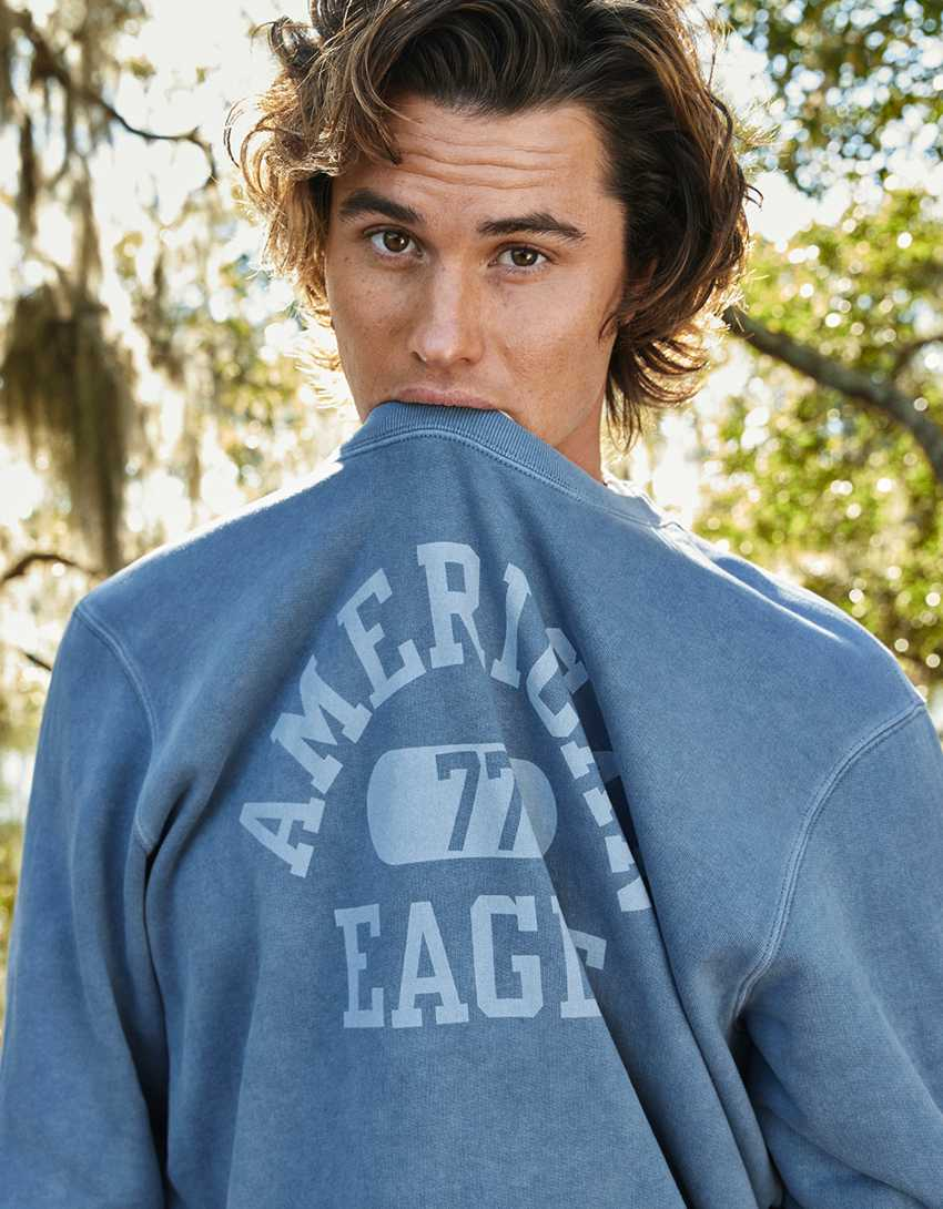 AE Super Soft Fleece Icon Graphic Crew Neck Sweatshirt