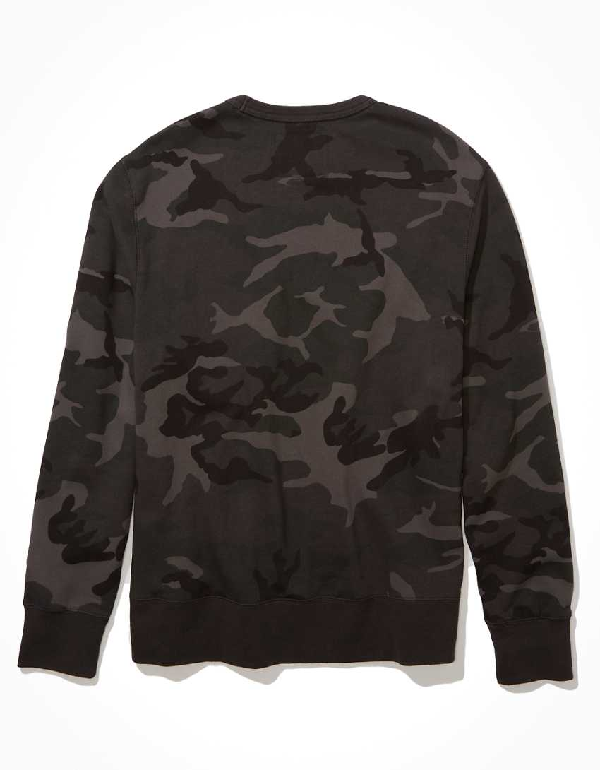 AE Super Soft Fleece Camo Crew Neck Sweatshirt