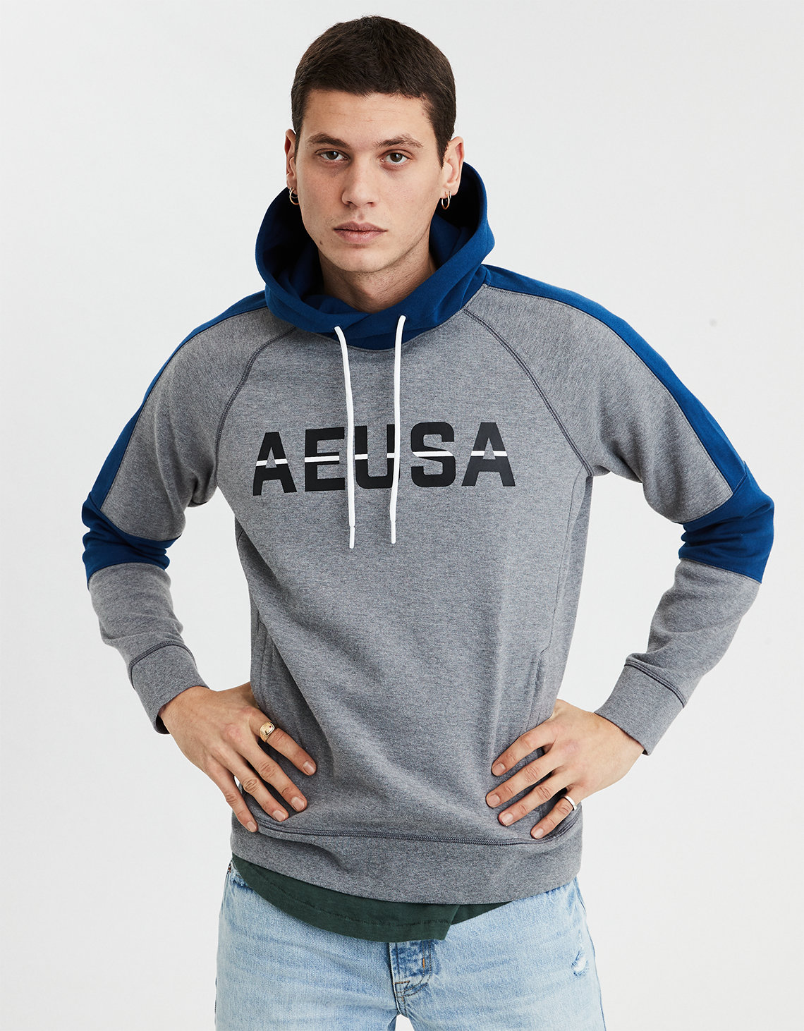 04ac653d213 AE Color Block Pullover Hoodie. Placeholder image. Product Image