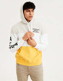 Ae Color Block Fleece Pullover Hoodie by American Eagle Outfitters