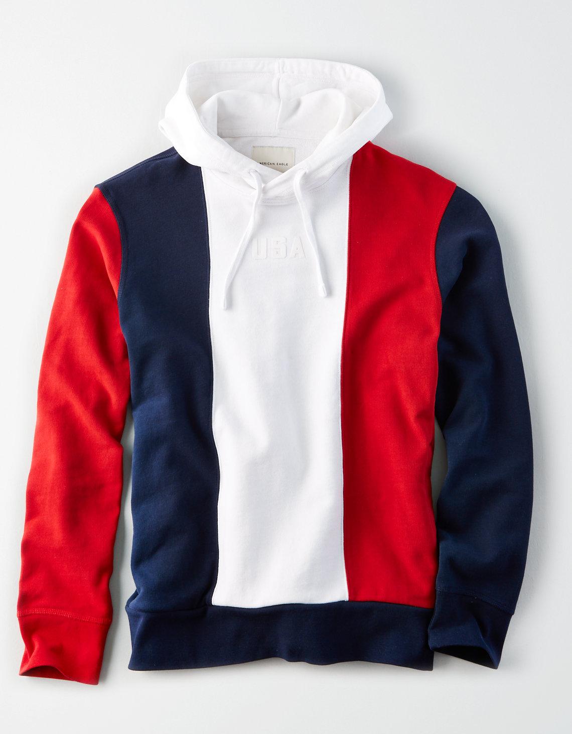 b9c9fba4 AE Color Block Fleece Pullover Hoodie