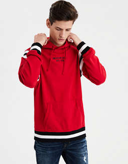 Ae Stripe Sleeve Graphic Hoodie by American Eagle Outfitters