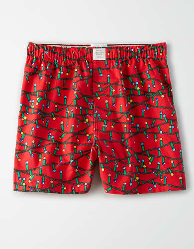AEO Christmas Lights Flannel Boxer Short