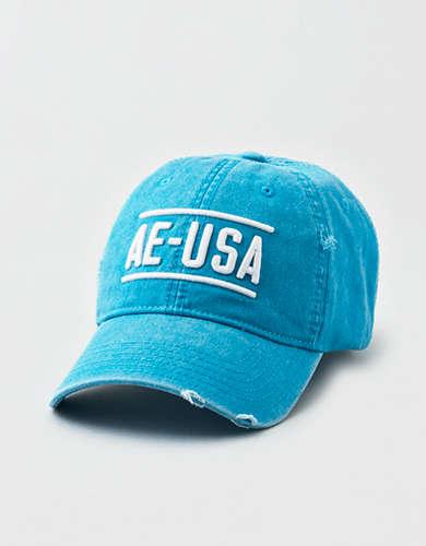 AE Washed Teal Logo Strapback Hat