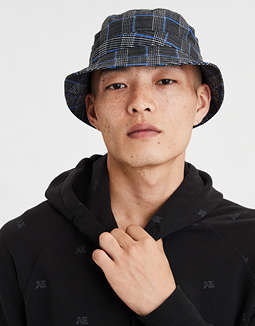 AEO Plaid Homefield Bucket Hat