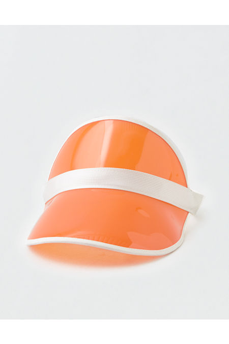 80s Hats, Caps, Visors, Buckets | Women and Men AEO Translucent Visor Mens Neon Orange One Size $7.18 AT vintagedancer.com