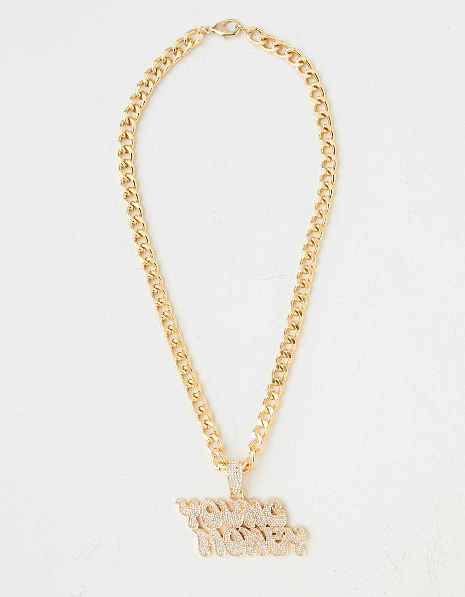 AE X Young Money Gold Nameplate Necklace