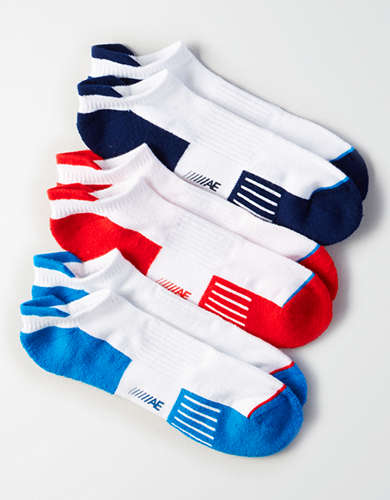 AE Red, White & Blue Performance Socks 3-Pack -