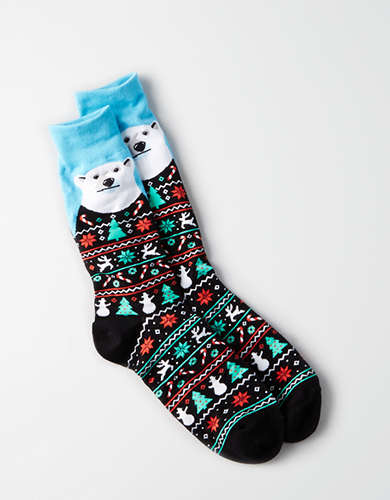 AEO Polar Bear Crew Sock - Buy One, Get One 50% Off