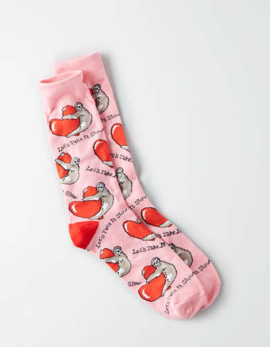 AEO Valentine's Day Sloth Crew Socks -