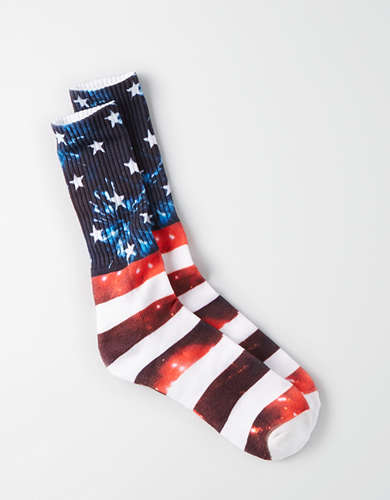 AEO Photoreal Flag Crew Socks -