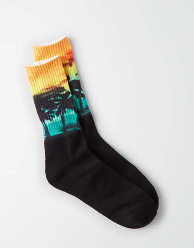 AEO Photoreal Palm Tree Crew Socks -