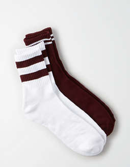 AEO Burgundy Crew Socks 2-Pack