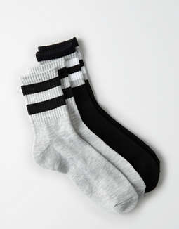 AEO Black Crew Socks 2-Pack