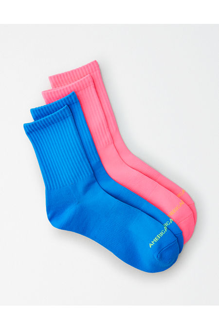 Vintage Style Socks- Knee High, Bobby, Anklet AEO Neon Mid Length Socks 2-Pack Mens Multi One Size $15.95 AT vintagedancer.com