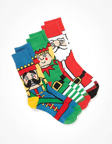 AEO Christmas Characters Crew Socks 3-Pack