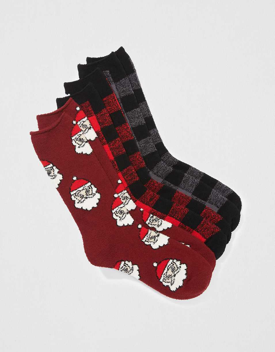AEO Holiday Fuzzy Socks 3-Pack