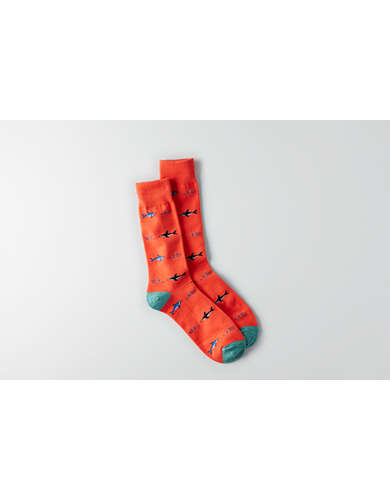 AEO Shark Print Crew Sock - Buy One Get One 50% Off