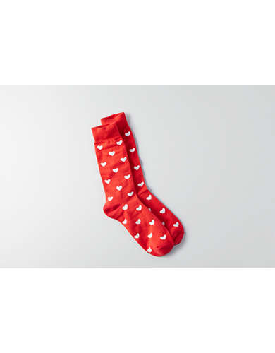 AEO Red Heart Crew Socks -