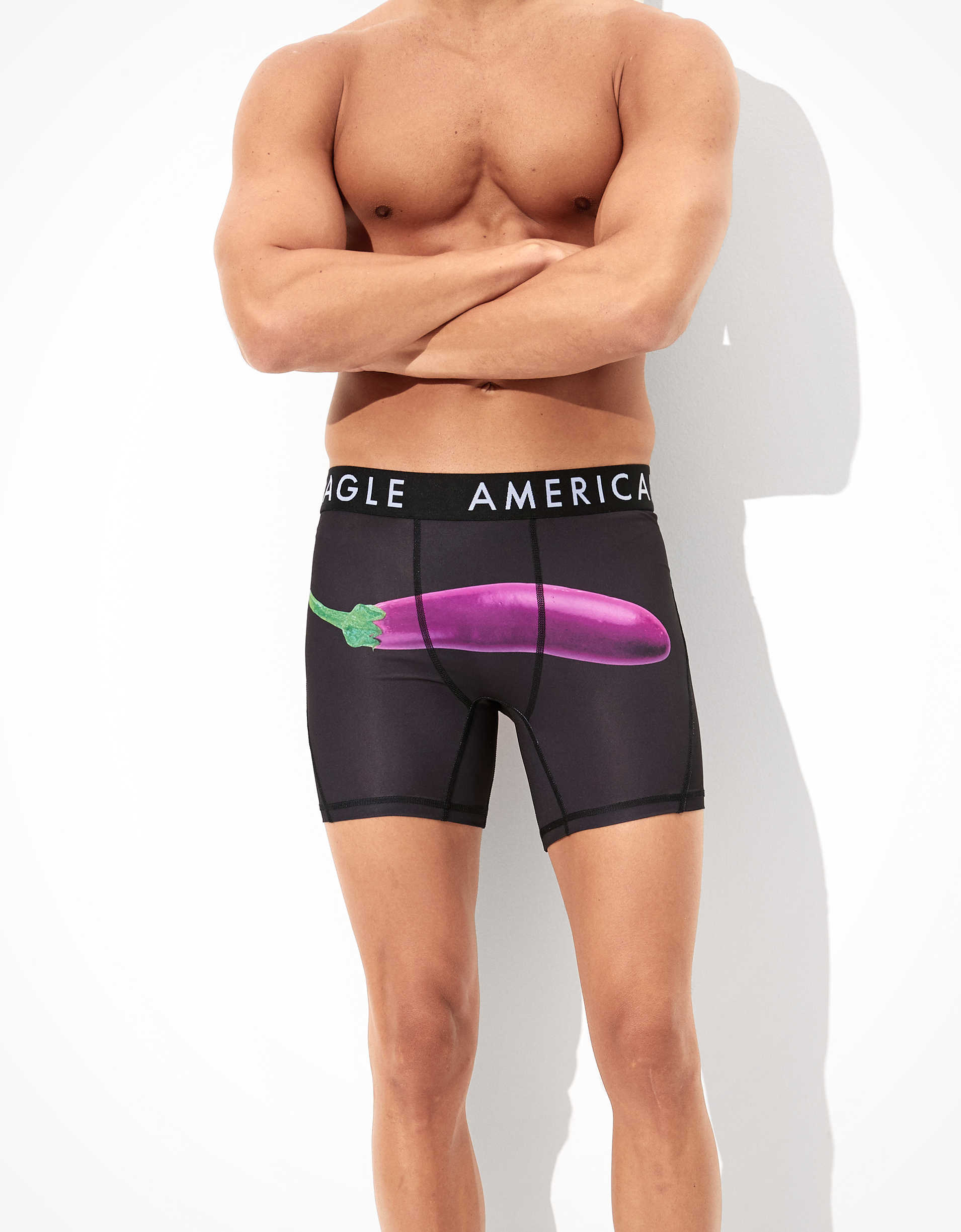 "AEO Eggplant + Orange 6"" Flex Boxer Brief"