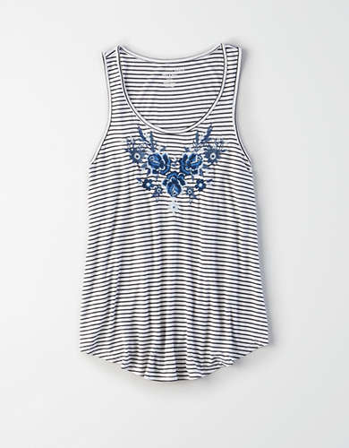 AE Embroidered Striped Tank Top