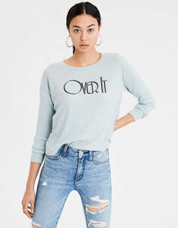 Ae Long Sleeve Waffle Graphic Tee by American Eagle Outfitters
