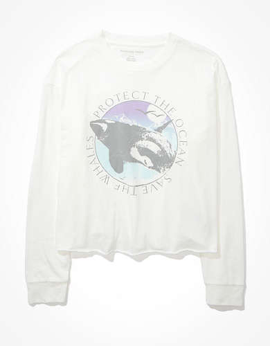 AE Long Sleeve Cropped Graphic T-Shirt