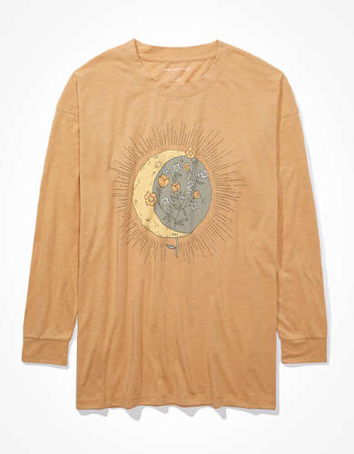 AE Oversized Long Sleeve Celestial Graphic T-Shirt