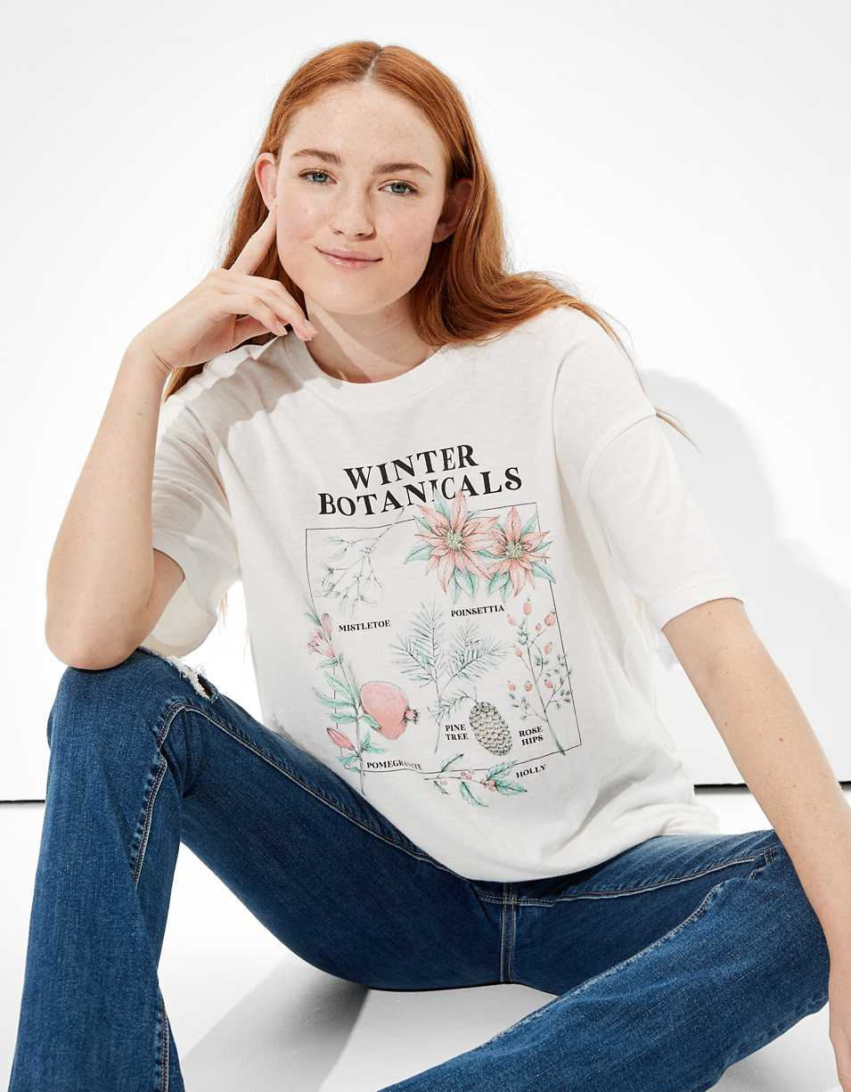 AE Oversized Winter Botanical Graphic T-Shirt
