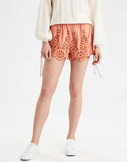 Ae Embroidered Eyelet Cinch Hem Short by American Eagle Outfitters